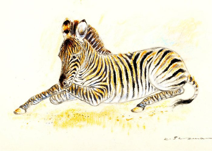 Zebra Greeting Card featuring the painting Mountain Zebra by Kurt Tessmann