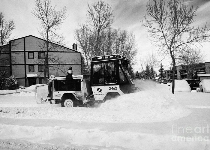 Downtown Greeting Card featuring the photograph municipal city mini tractor clearing sidewalks and roads in Saskatoon Saskatchewan Canada by Joe Fox