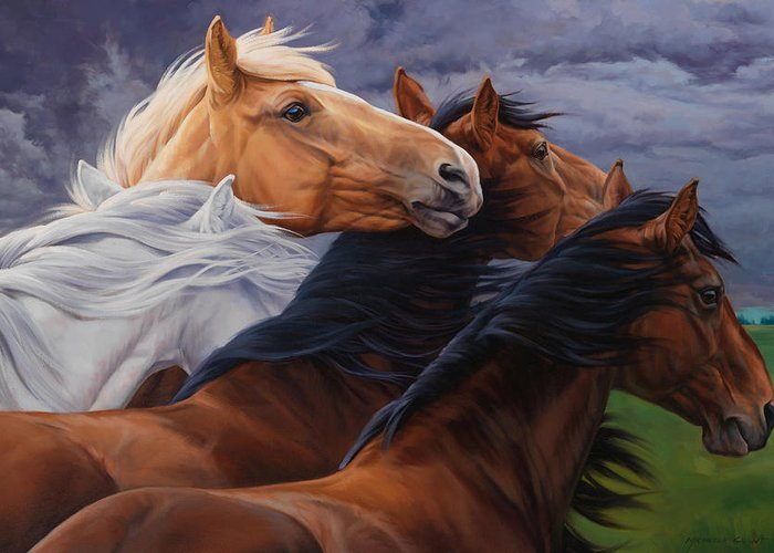 Michelle Grant Greeting Card featuring the painting Mutual Support by JQ Licensing