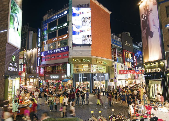 Advertising Greeting Card featuring the photograph Myeongdong Shopping Street In Seoul South Korea by Jacek Malipan