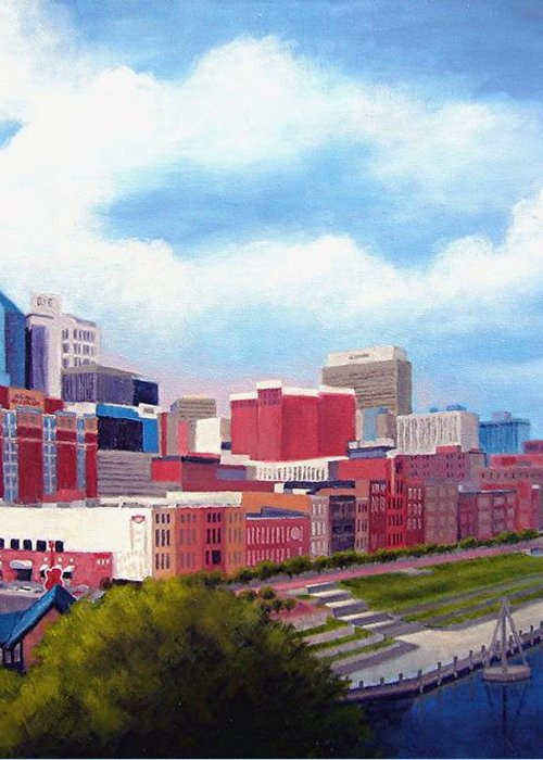 Nashville Greeting Card featuring the painting Nashville Skyline by Janet King