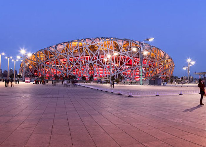 National Stadium Greeting Card featuring the photograph National Stadium Panorama Beijing China by Colin and Linda McKie
