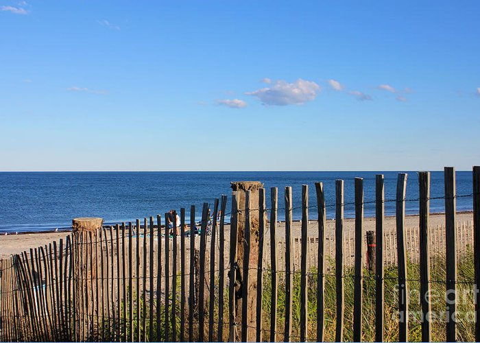 Afternoon Greeting Card featuring the photograph New England Beach Past A Fence by Jannis Werner