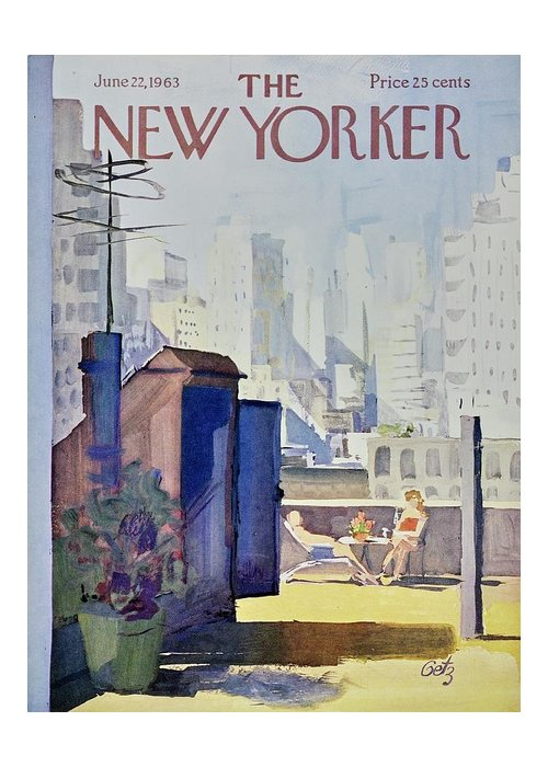 Illustration Greeting Card featuring the painting New Yorker June 22nd 1963 by Arthur Getz