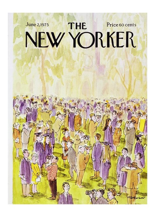Illustration Greeting Card featuring the painting New Yorker June 2nd 1975 by James Stevenson
