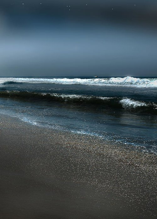 Beach Greeting Card featuring the photograph Night Beach by Artist and Photographer Laura Wrede
