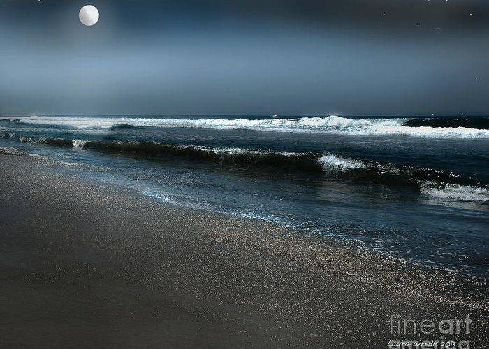 Moonshine On The Beach Greeting Cards