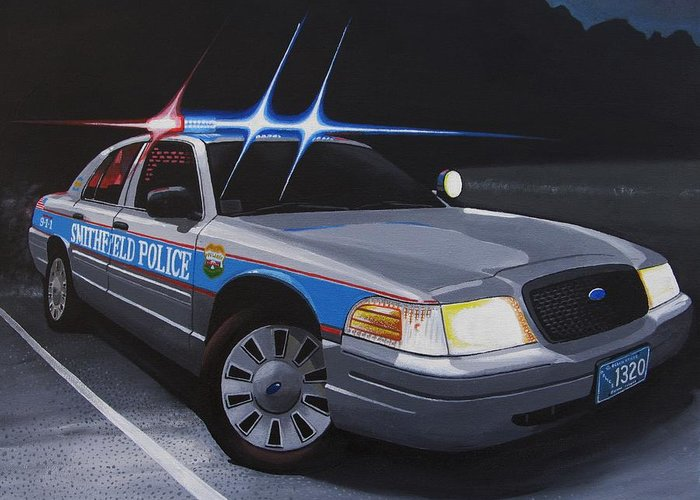 Police Greeting Card featuring the painting Night Patrol by Robert VanNieuwenhuyze