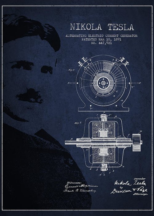 Tesla Greeting Card featuring the digital art Nikola Tesla Patent From 1891 by Aged Pixel