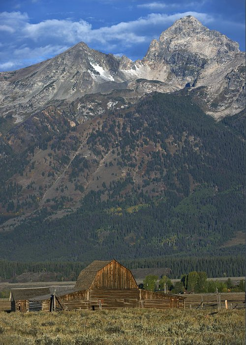 North Greeting Card featuring the photograph North Moulton Barn Grand Tetons by Gary Langley