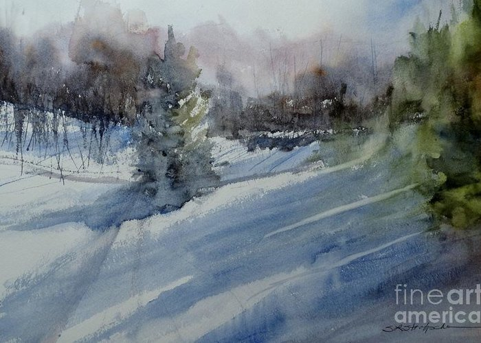 Winter Greeting Card featuring the painting Northern Exposure by Sandra Strohschein