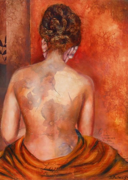 Female Greeting Card featuring the painting Nude 2 by Susan Goh