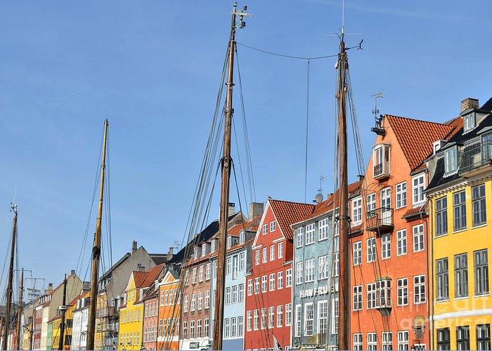 Copenhagen Greeting Card featuring the photograph Nyhavn In Copenhagen Denmark - Famous Tourist Attraction by Aleksandar Mijatovic