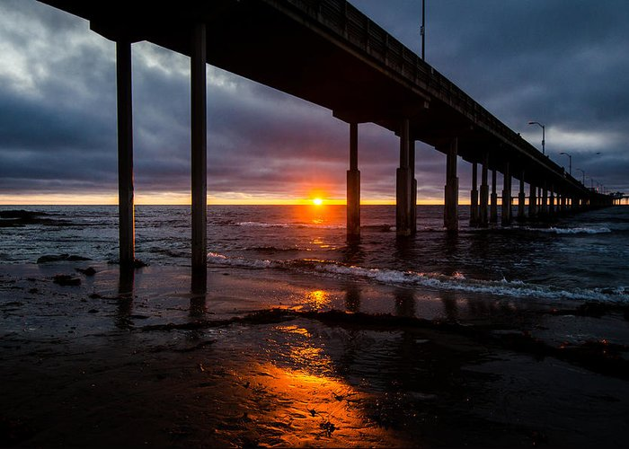 Ocean Greeting Card featuring the photograph Ocean Beach Pier 2 by William Murphy