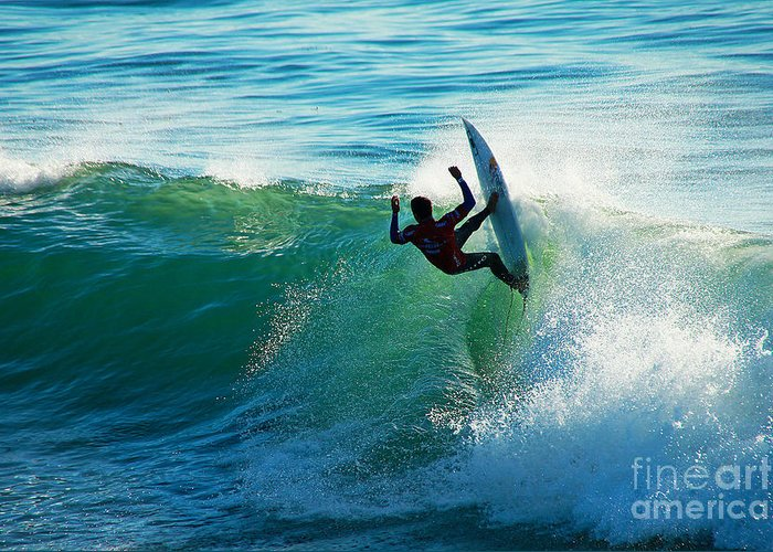 Surfing Greeting Card featuring the photograph Off The Lip by Paul Topp