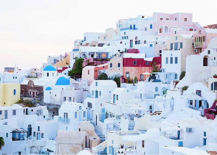 Tranquility Greeting Card featuring the photograph Oia by Jorg Greuel