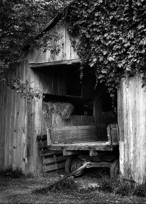 Black And White Photography Greeting Card featuring the photograph Old Barn And Wagon by Julie Dant