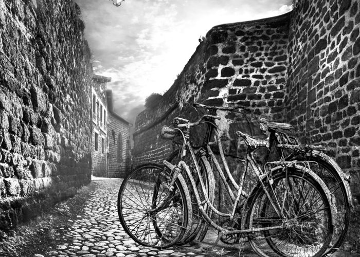 Appalachia Greeting Card featuring the photograph Old Bicycles On A Sunday Morning by Debra and Dave Vanderlaan