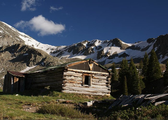 Landscape Greeting Card featuring the photograph Old Cabin In Rocky Mountains by Michael J Bauer