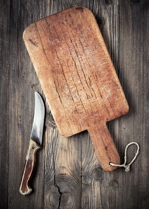 Empty Greeting Card featuring the photograph Old Cutting Board And Knife by Barcin