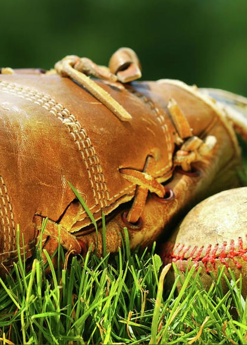 Ball Greeting Card featuring the photograph Old Glove And Baseball by Sandra Cunningham