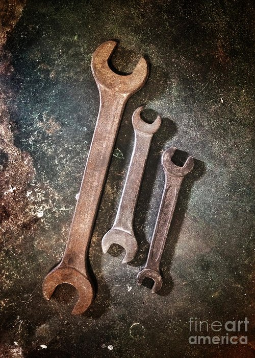 Spanner Greeting Card featuring the photograph Old Spanners by Carlos Caetano