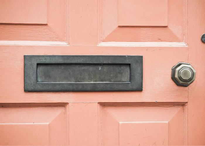 Address Greeting Card featuring the photograph Orange Door by Tom Gowanlock
