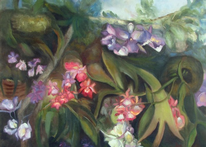 Orchids Greeting Card featuring the painting Orchids I by Susan Hanlon