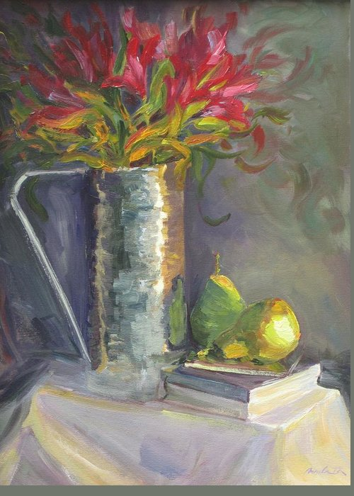 Still Life Of Flowers Greeting Card featuring the painting Our Time Together by Angela Tommaso Riccobene