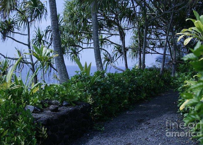 Greeting Card featuring the photograph Pailoa Near Mokulehua At Hale 'o Pi'ilani Heiau Maui Hawaii by Sharon Mau