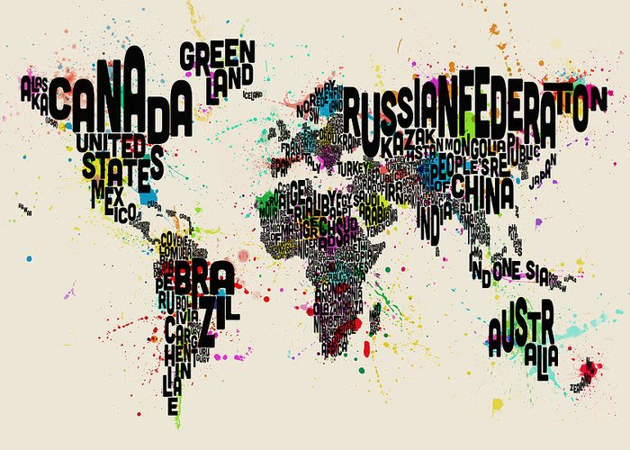 Map Of The World Greeting Card featuring the digital art Paint Splashes Text Map Of The World 1 by Michael Tompsett