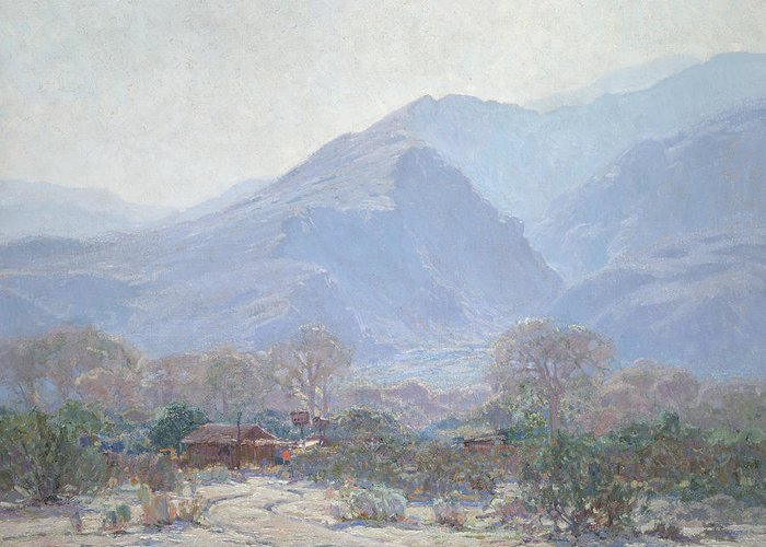 Land Greeting Card featuring the painting Palm Springs Landscape With Shack by John Frost