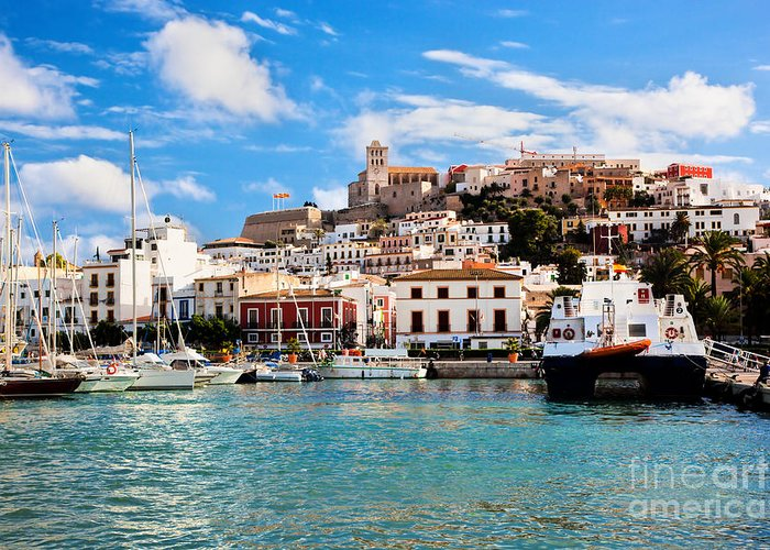 Ibiza Greeting Card featuring the photograph Panorama Of Ibiza Spain by Michal Bednarek
