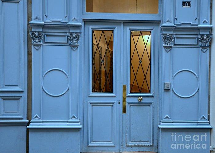 Paris Door Photographs Greeting Card featuring the photograph Paris Blue Door - Blue Aqua Romantic Doors Of Paris - Parisian Doors And Architecture by Kathy Fornal