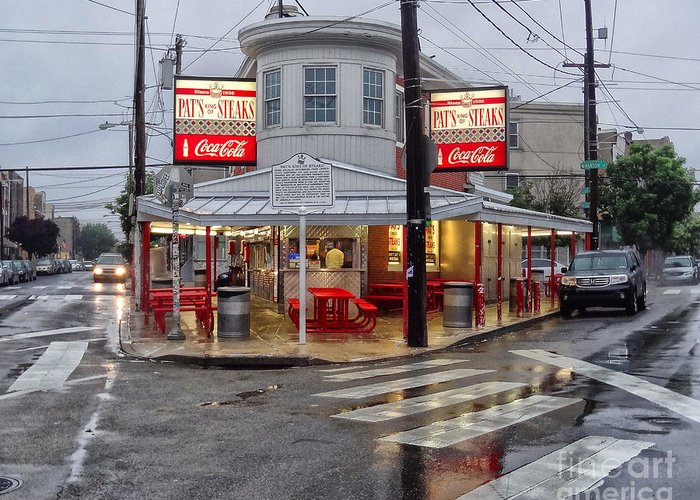 Philadelphia Italian Market Greeting Card featuring the photograph Pat's Steaks by Jack Paolini