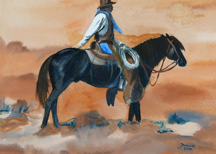 Western Art Greeting Card featuring the painting Paul On Watch by Janina Suuronen