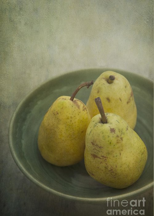 Food Greeting Card featuring the photograph Pears by Priska Wettstein