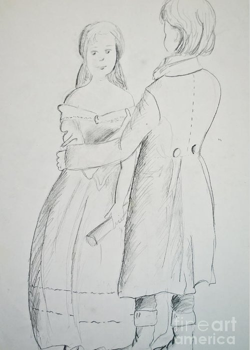 Art Greeting Card featuring the photograph Pencil Sketch Of Couple In Love by Aleksandar Mijatovic