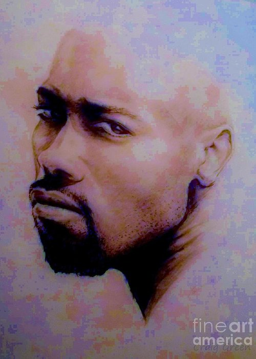 Pensive Greeting Card featuring the drawing Pensive Look by Craig Green