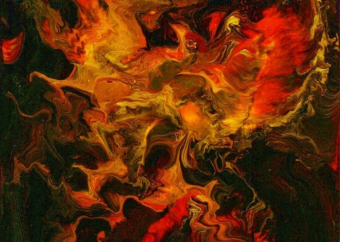 Phoenix Greeting Card featuring the painting Phoenix Rising by Charles Lucas