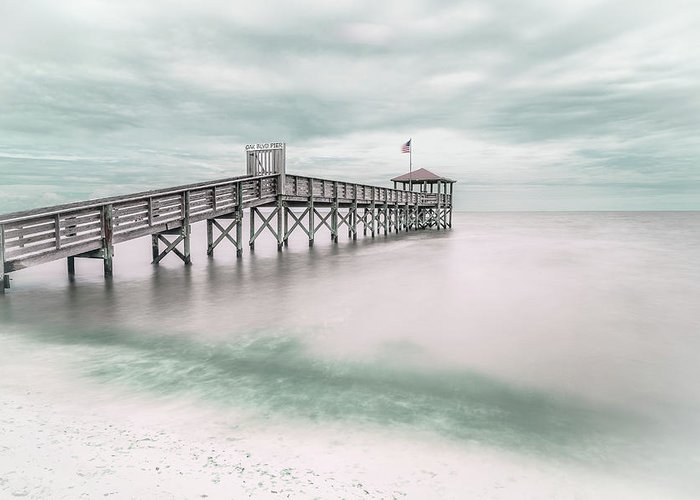 Teal Greeting Card featuring the photograph Pier by Martin Steeb