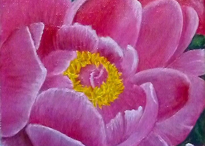 Garden Greeting Card featuring the painting Pink Peony by Lynda Evans