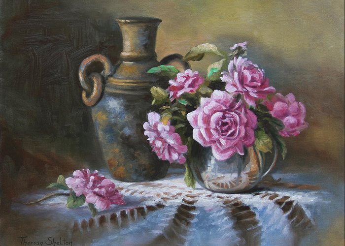 Roses Greeting Card featuring the painting Pink Roses In Silver by Theresa Shelton