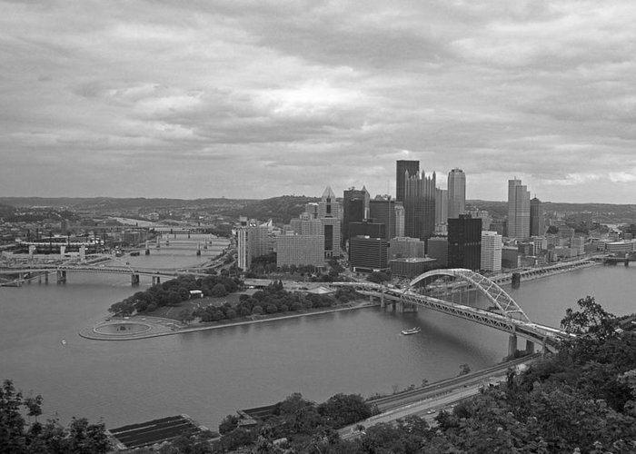 Allegheny Greeting Card featuring the photograph Pittsburgh - View Of The Three Rivers by Frank Romeo