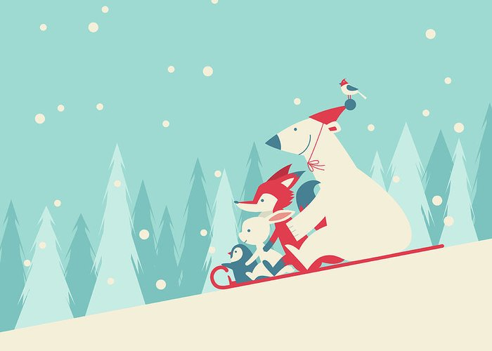 Snow Greeting Card featuring the digital art Playing Snow Sled by Akindo