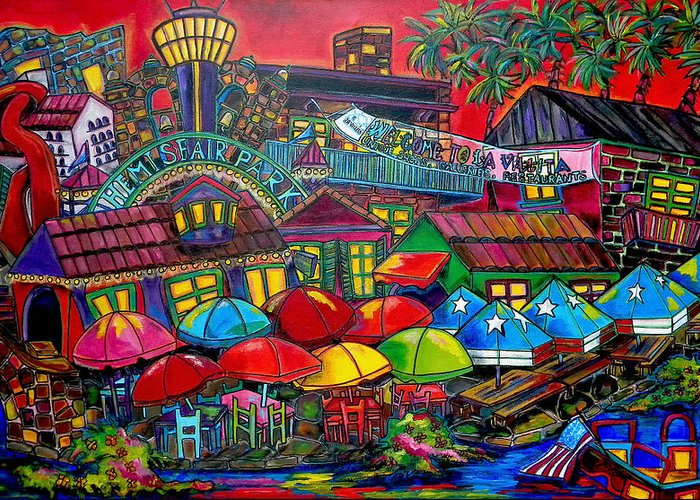 San Antonio Greeting Card featuring the painting Playing Tourist by Patti Schermerhorn