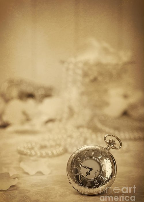 Old Greeting Card featuring the photograph Pocket Watch by Amanda Elwell