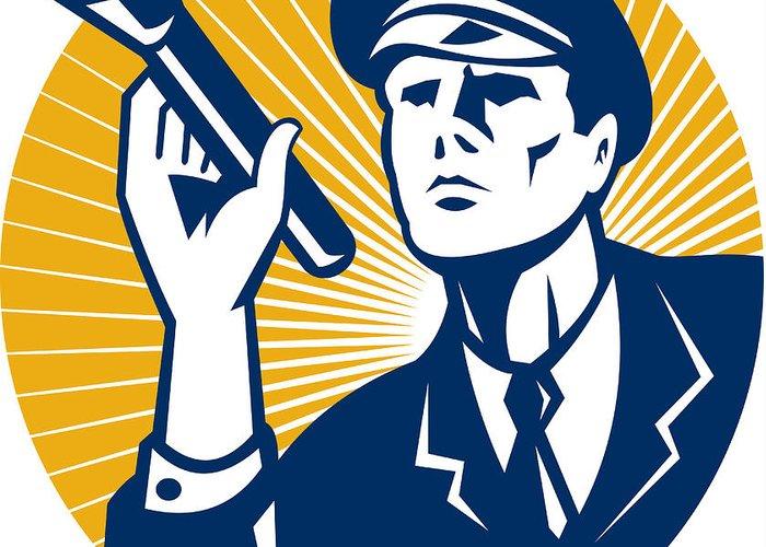 Police Greeting Card featuring the digital art Policeman Security Guard With Flashlight Retro by Aloysius Patrimonio