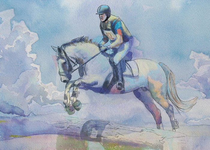 Horse Sport Greeting Card featuring the painting Polo Art by Catf
