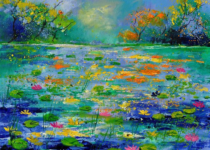 Landscape Greeting Card featuring the painting Pond 454190 by Pol Ledent